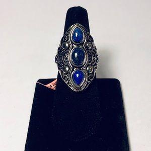 Bali Legacy Collection 3 Stone Lapis Lazuli Ring 9